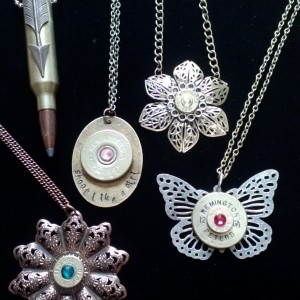 Shootergirl ammunition necklaces:  Rifle, shotgun, and pistol brass.