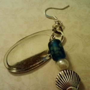 ALure fishing lure earrings with spinners.  Clam charm with pearl.