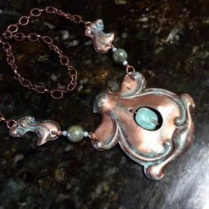 An upcycled salvage necklace from the salvage store