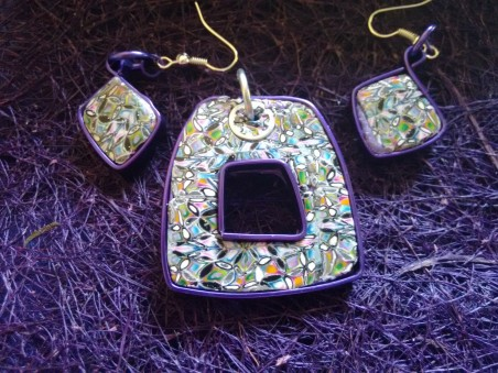 Silvery Mosaic Purple flat wire with empty space  pendant and earrings