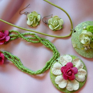 Paper Flowers and Mother of Pearl Jewellery