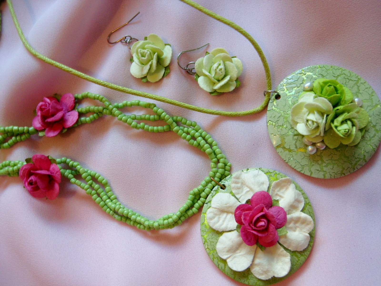 Paper Flowers & Mother of Pearl Jewellery