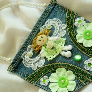"""Little Green Angel"" Jewelled Pocket Purse"