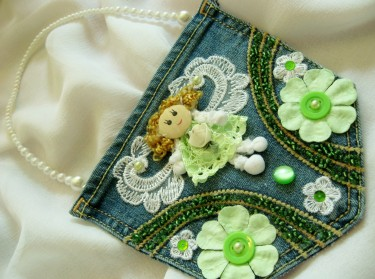 """Little Angels"" Jewelled Denim Pocket Purses"
