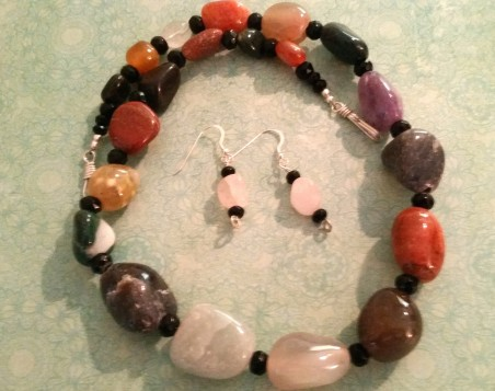 These agate nuggets came strung exactly like this. I just added spacers and a clasp.