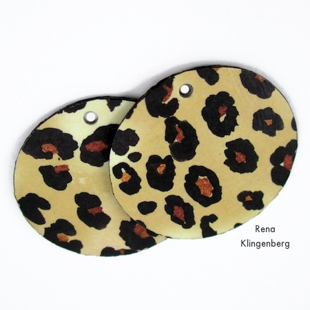 Holes punched in Animal Print Earrings - Tutorial by Rena Klingenberg