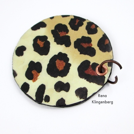 Attaching jump ring to Animal Print Earrings - Tutorial by Rena Klingenberg