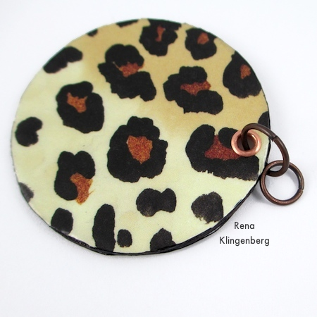 Attaching jump rings to Animal Print Earrings - Tutorial by Rena Klingenberg