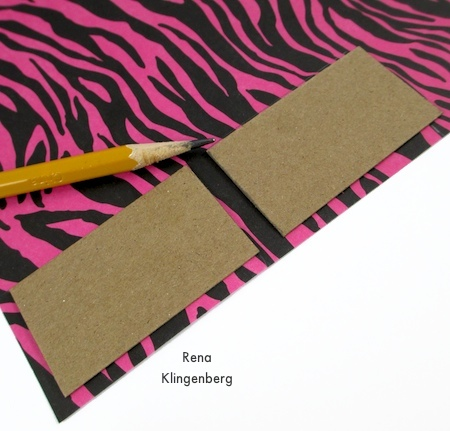 Measuring and cutting paper for Animal Print Earrings - Tutorial by Rena Klingenberg