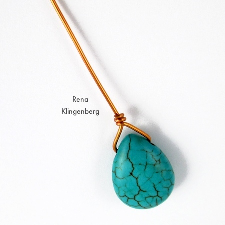 First wrap for Briolette Wire Wrapping Techniques - Tutorial by Rena Klingenberg