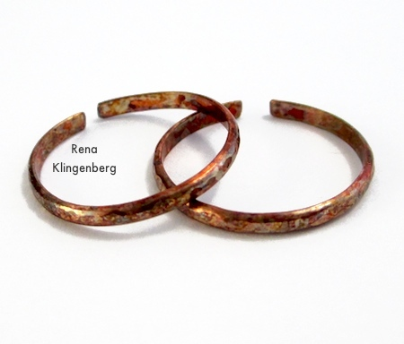After patina process - Rustic Adjustable Stacking Rings - Tutorial by Rena Klingenberg