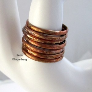 Rustic Adjustable Stacking Rings - Tutorial by Rena Klingenberg