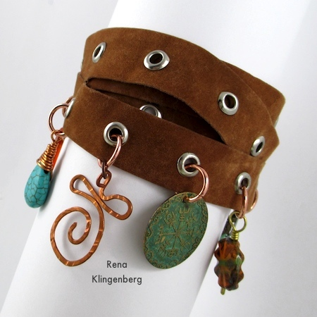 Grommet Wrap Charm Bracelet - Tutorial by Rena Klingenberg