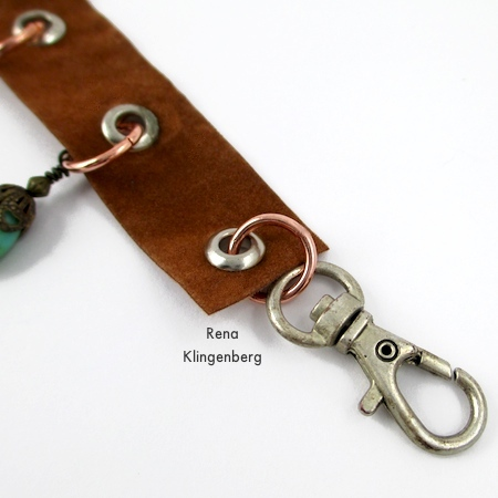 Attaching the clasp to the bracelet - Grommet Wrap Charm Bracelet - Tutorial by Rena Klingenberg