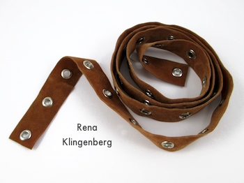 Leather grommet tape for Grommet Wrap Charm Bracelet - Tutorial by Rena Klingenberg
