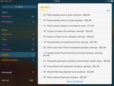 I created an itemized list of jewelry I sent to a gift shop for consignment. (Reminders app)