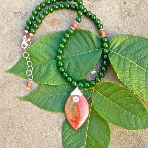 """""""Falling Leaf"""" Handcrafted Picasso Jasper/Canada Jade Necklace."""