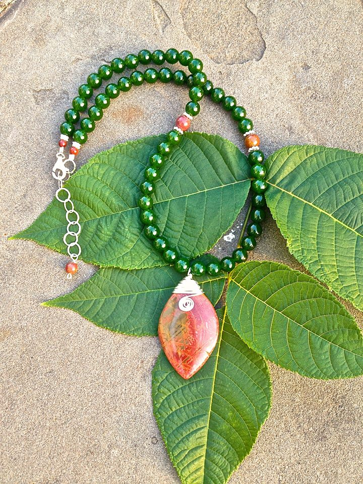 Falling Leaf Handcrafted Picasso Jasper Necklace