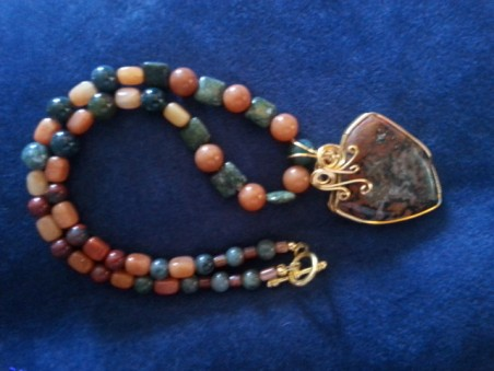 Necklace with wire wrapped pendant by Tammy S. Byrd