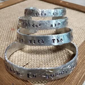Hand stamped & hammered bracelets