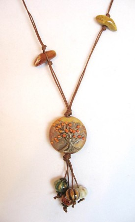 "Autumn Tree Lampwork Pendant with Ceramic ""Gourds"" on Waxed Linen Cord"