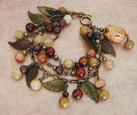 Nuts and Berries Bracelet with Real Nut Dangle!
