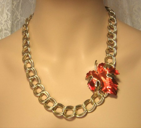 Re-purposed Vintage Chain and Red Leaf Brooch (purchased separately)