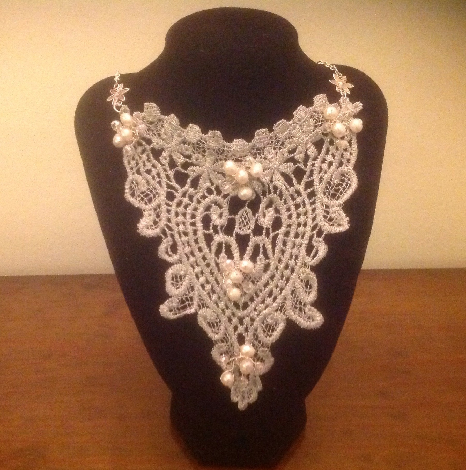 Lace, Freshwater Pearl & Quartz Necklace