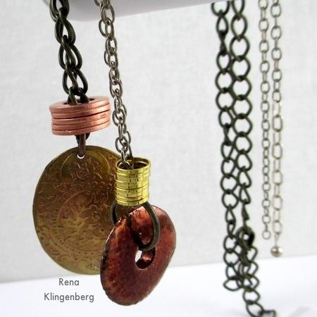 Colares de anéis empilhados - Tutorial de Rena Klingenberg