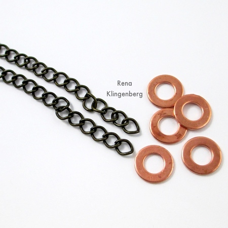 Chain and rings for Stacked Rings Necklace - Tutorial by Rena Klingenberg