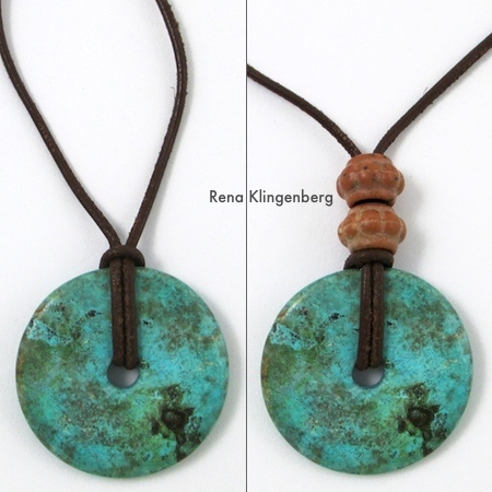 Turquoise pendant on leather cord with beads - Rena Klingenberg