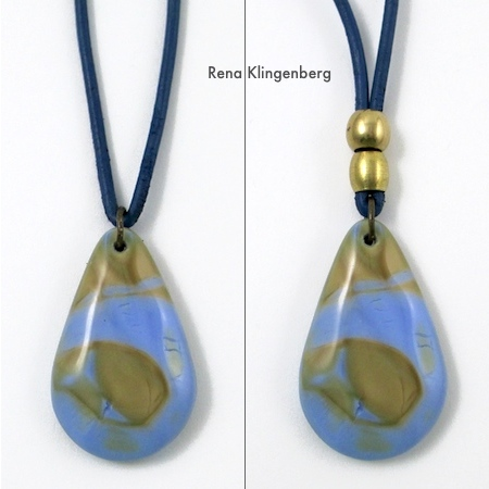 Glass pendant on leather cord with brass beads - Rena Klingenberg