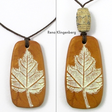 Polymer clay pendant on hemp cord with clay bead - Rena Klingenberg