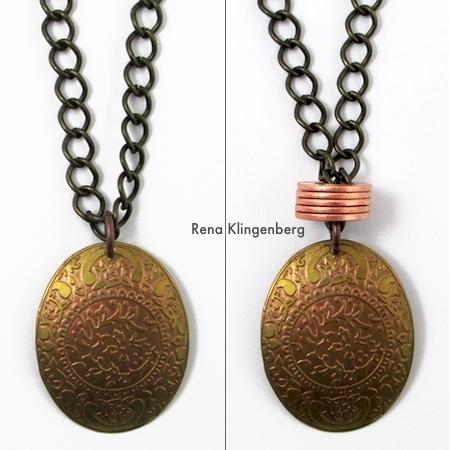 Antes e depois - Colar de anéis empilhados - Tutorial de Rena Klingenberg