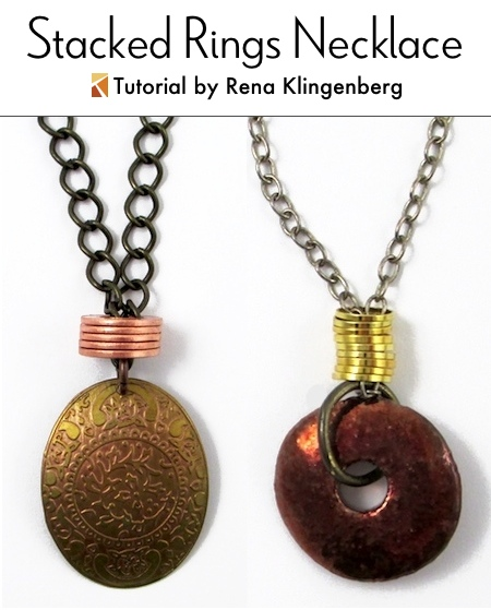 Stacked Rings Necklace - Tutorial by Rena Klingenberg
