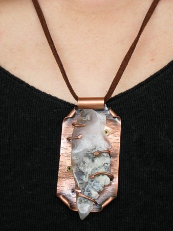 PJohal: Copper and Agate Geode Necklace 4
