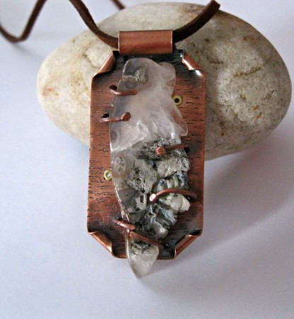 PJohal: Copper and Agate Geode Necklace 3