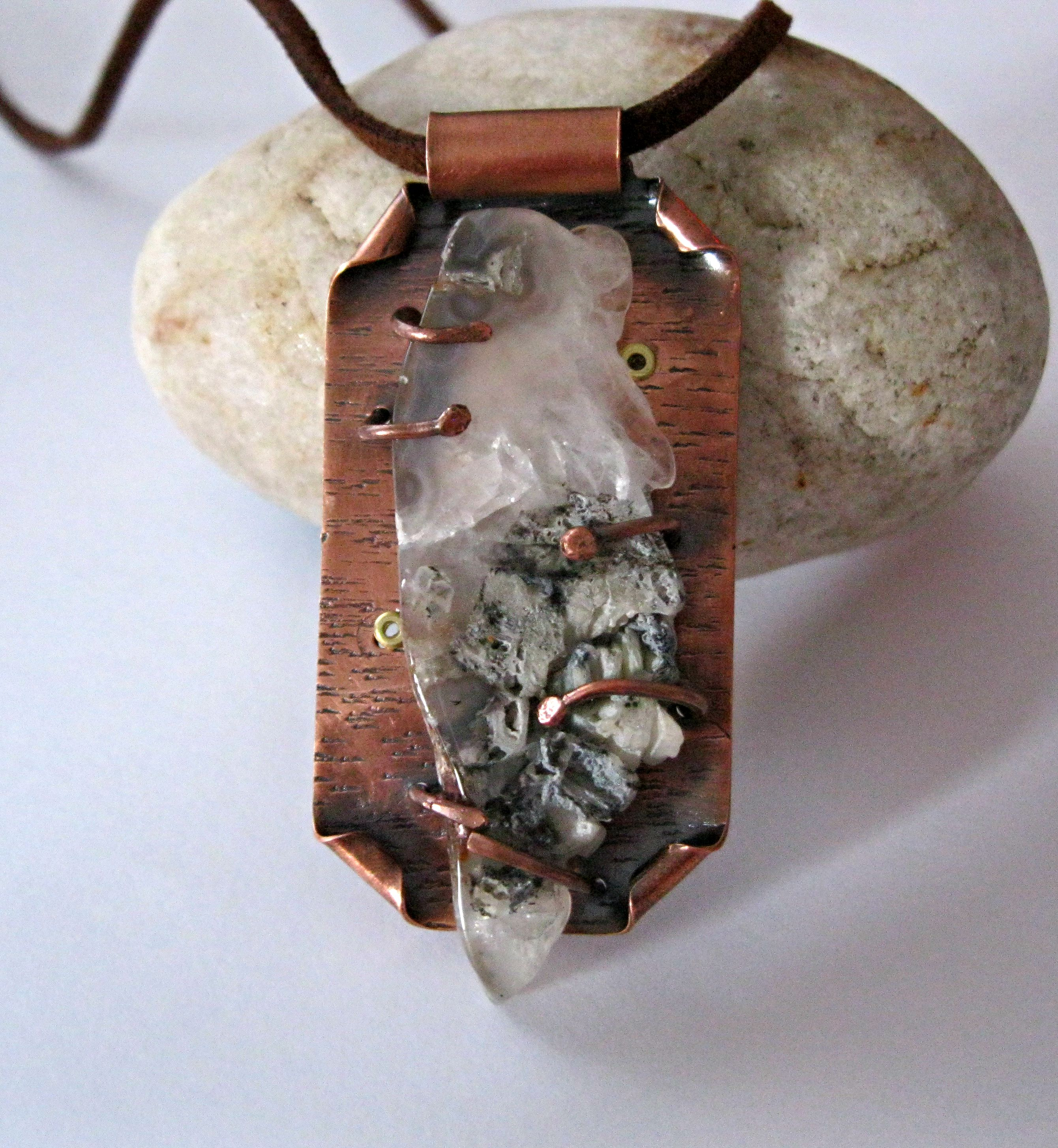 Copper and Agate Geode Necklace