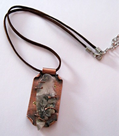 PJohal: Copper and Agate Geode Necklace 1