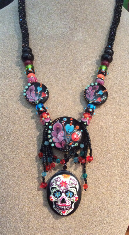 Day of the Dead Lampwork Necklace