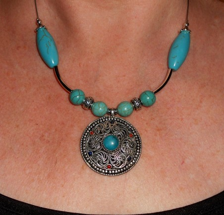 Turquoise Statement Necklace by Lynn of Les Bijoux Crea-Lune  - featured on Jewelry Making Journal