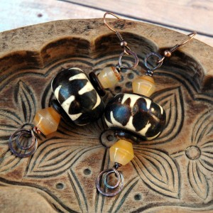 Vintage Batik Bead Earrings