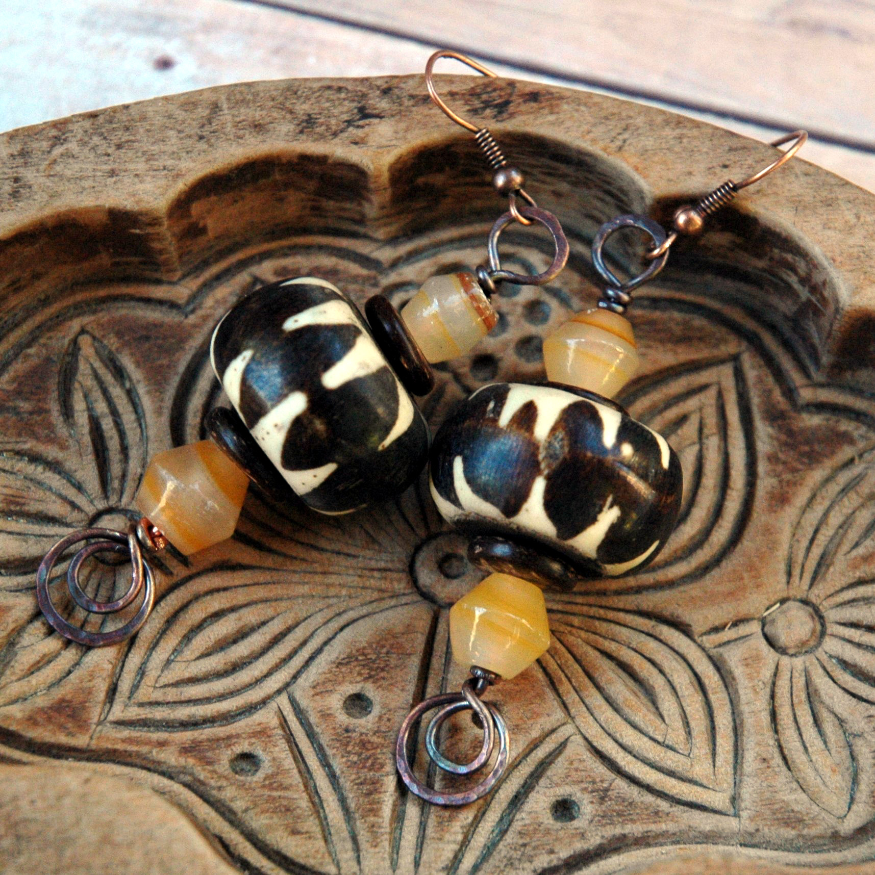 Vintage Batik Bead Earrings