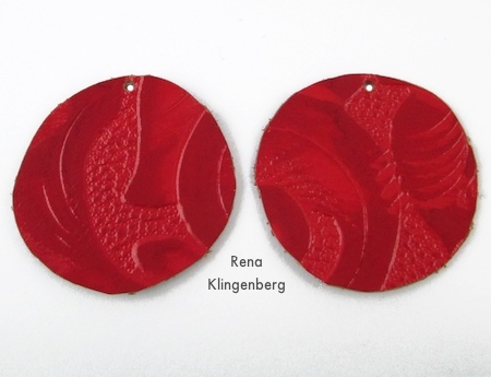 Holes punched for Leather Earrings - Tutorial by Rena Klingenberg