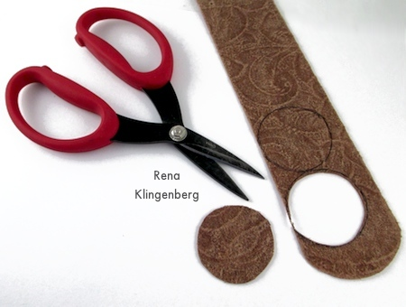 Cutting out earring shapes for Leather Earrings - Tutorial by Rena Klingenberg