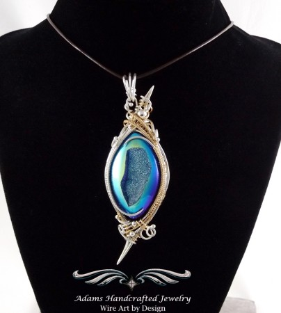 Coated Drusy Pendant in Fine Silver &14/20K Gold Filled by Daryl Adams  - featured on Jewelry Making Journal