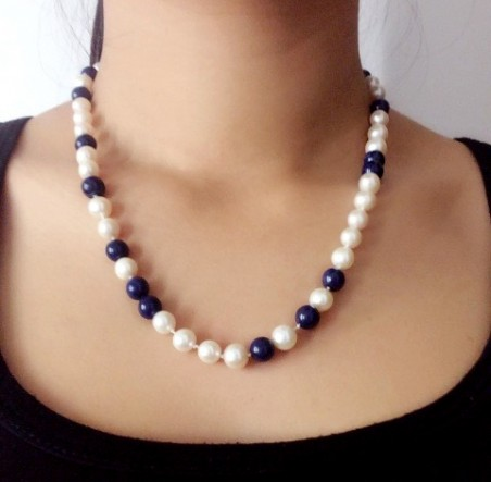 Pearl Strand with Lapis Lazuli - by Chuang Yu  - featured on Jewelry Making Journal