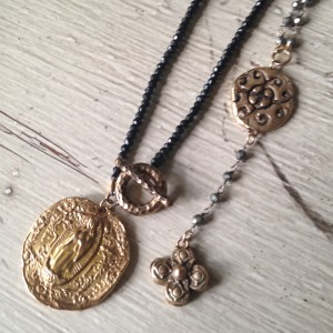 Bronze Clay and Gemstone Necklaces