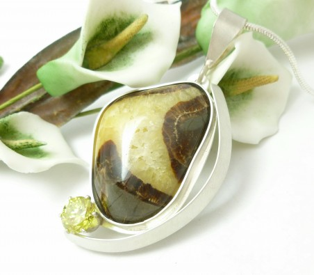 Septarian Stone in Sterling Silver Setting by Diane Schamp  - featured on Jewelry Making Journal