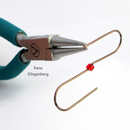 Making loops at the ends of the wire for Easy Christmas Ornament Hooks - Tutorial by Rena Klingenberg
